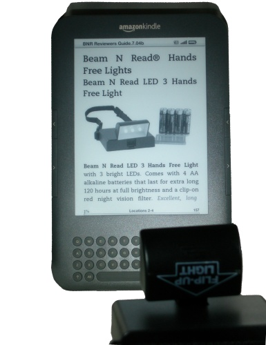 Beam N Read LED 3 Hands Free Travel Book Light with Amazon Kindle