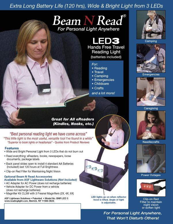 Beam N Read LED 3 Hands Free Travel Reading Light Info Sheet