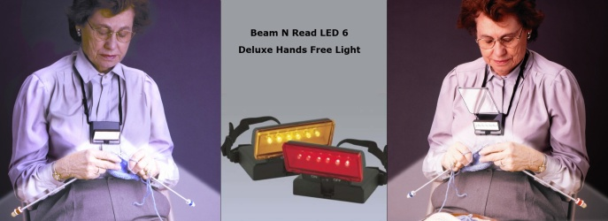 Beam N Read LED 6 Deluxe Hands Free Light; Light with Red Night Vision Filter and with Amber Soft Light Filter; and Light with Clip-on Magnifier Attached