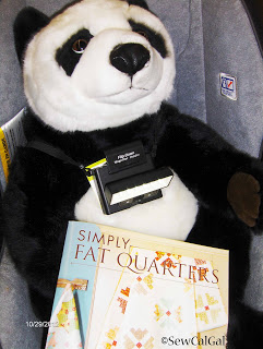 Oreo likes to read quilting magazines with a Beam N Read LED 6 Deluxe Hands-Free Light
